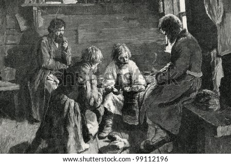 "Shoemaker. Engraving by Kazakov  from picture by Pavlov. Published in magazine ""Niva"", publishing house A.F. Marx, St. Petersburg, Russia, 1899"