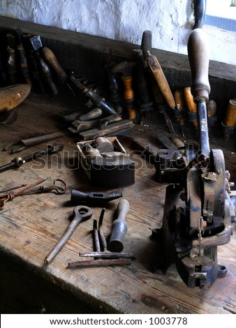 Shoemakers tool bench - stock photo