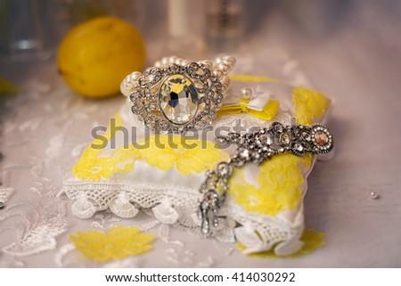 Shoes and jewelry bridesmaid bright yellow lemon - stock photo