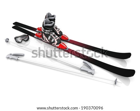 shoes and ski sticks on a white background - stock photo