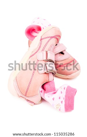 shoes and socks  isolated on white - stock photo