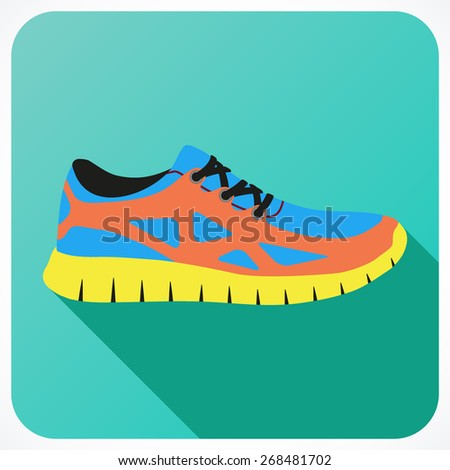 Shoes flat icon with bright colorful running sneakers. Illustration isolated on white background.