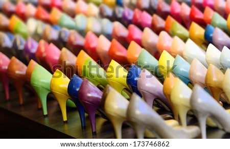 Shoes, generic in variety of colors - stock photo