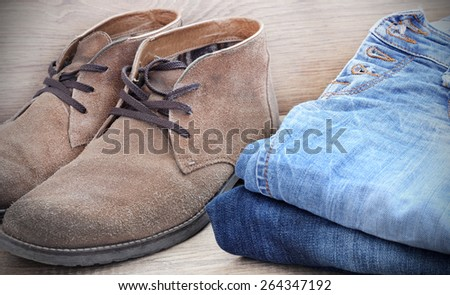 shoes jeans - stock photo