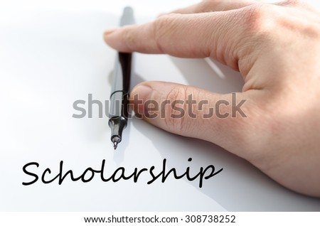 Sholarship text concept isolated over white background - stock photo