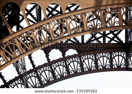 Shoot closeup detail eiffel tower in Paris.Eiffel Tower parts isolated on white. - stock photo