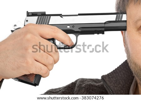 Shoot in head with gun isolated on white background - stock photo