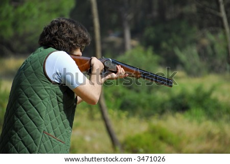 Shooter training - shotgun events - trap - stock photo