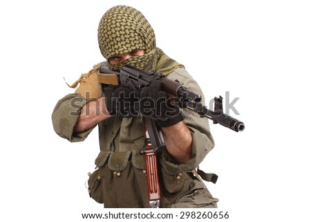 shooter with AK 47 isolated on white - stock photo