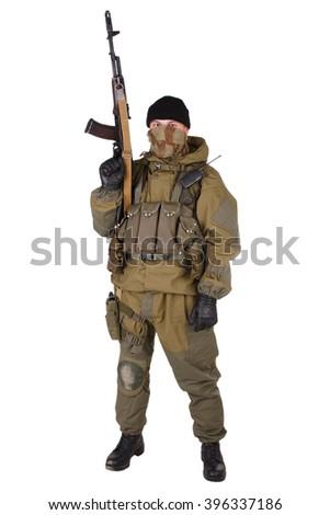 shooter with kalashnikov rifle isolated on white background - stock photo