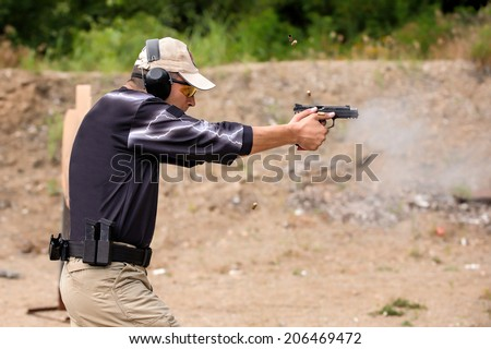 Shooting and Weapons Training. Outdoor Shooting Range - stock photo