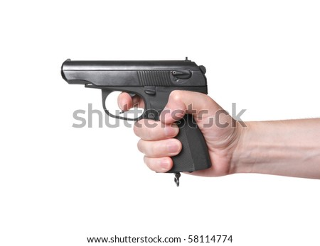 Shooting from gun on white background - stock photo