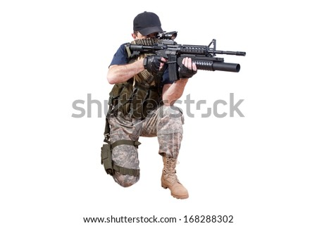 shooting mercenary isolated - stock photo
