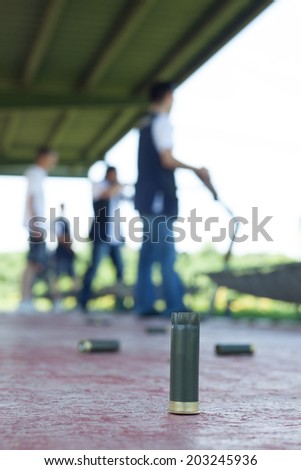 shooting range training - stock photo