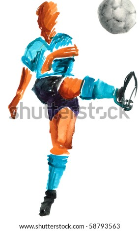 Shooting soccer player wearing a blue light t-shirt. Watercolor painted hand made drawing over white background. - stock photo
