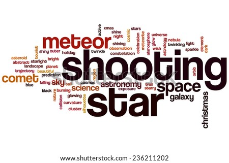 Shooting star word cloud concept - stock photo