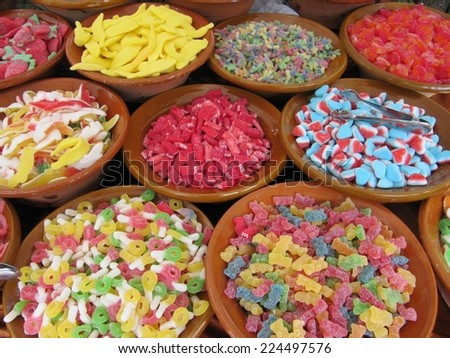 Shop assorted candies on the market - stock photo