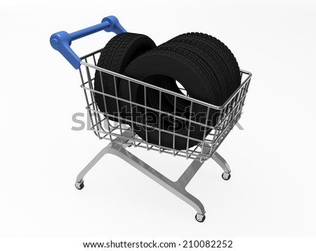 Shop basket with tires - stock photo
