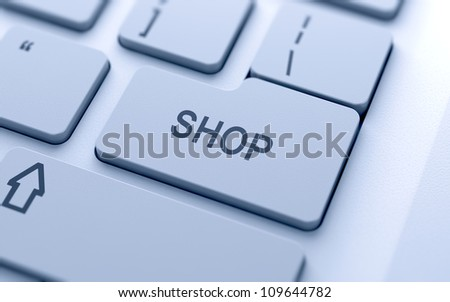 Shop button on keyboard with soft focus