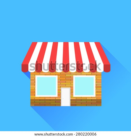 Shop Icon Isolated on Blue Background. Long Shadow. - stock photo