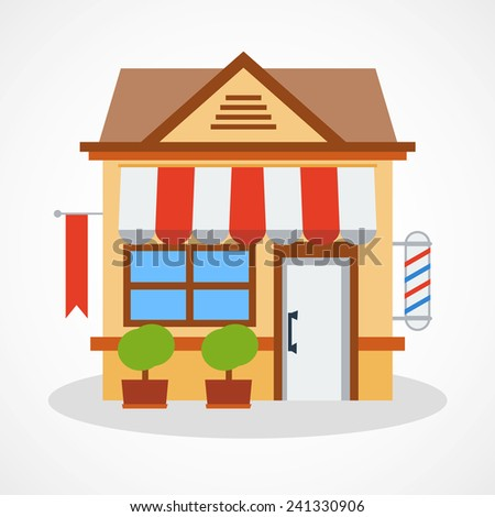 Shop icon with red and white striped awning. Illustration. - stock photo