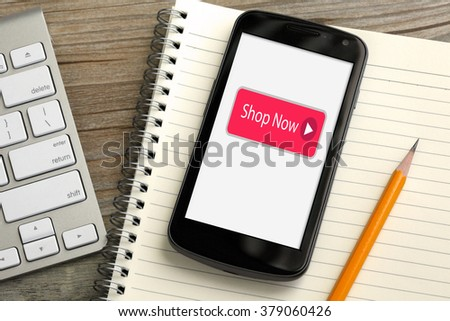shop now button on mobile phone, concept of online shopping with mobile - stock photo
