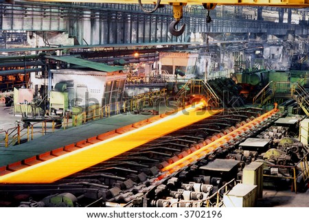 Shop of hot and cold rolling of pipes - stock photo