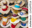 Shop of the straw hats, Mexico - stock photo