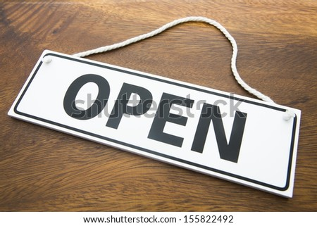 Shop Open Sign On Wooden Background - stock photo