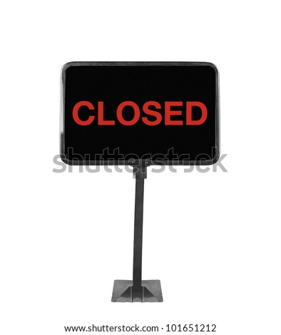 shop sign closed on white background - stock photo