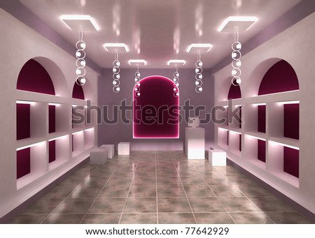 Shop Store Interior Background with empty shelves for your products. With Cashier. - stock photo