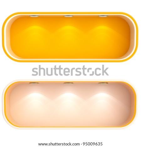 Shop window copyspace orange showcase with backlight illumination, set of two isolated on white - stock photo