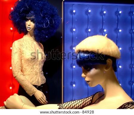 Shop window fashion display. - stock photo