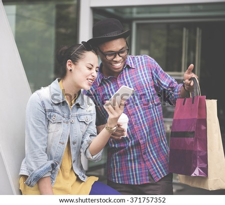 Shopaholic Shopping Commerce Consumer Couple Concept - stock photo