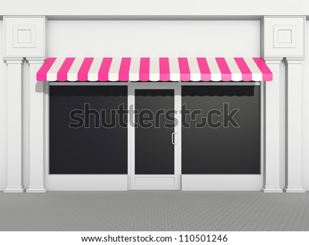 Shopfront - classic store front with pink awnings - stock photo