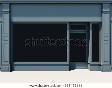 Shopfront with large windows. Classic store facade. - stock photo