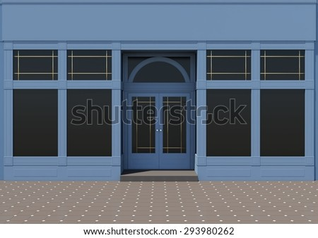 Shopfront with large windows. Classic store facade - stock photo