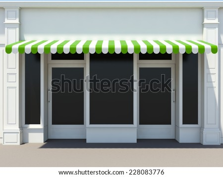 Shopfront with two doors in the sun - classic store front - stock photo