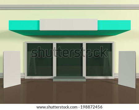 Shopfront with windows and signboard colorful store - stock photo