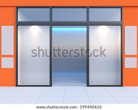 Shopfront with windows and signboard Orange store - stock photo