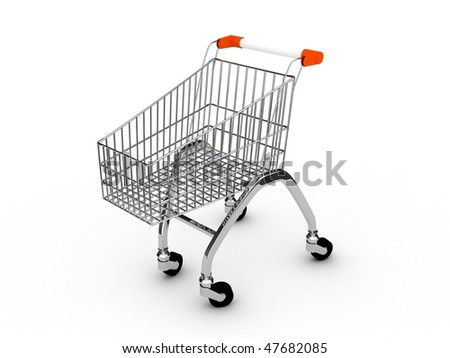 Shoping cart over white background . 3d render - stock photo