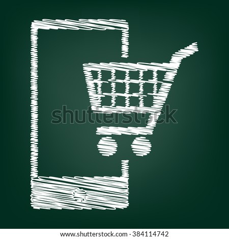 Shoping on smart phone sign. Flat style icon with chalk effect - stock photo