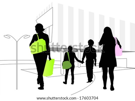 shoppers at shopping mall - stock photo