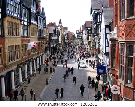 Shoppers in Chester England - stock photo