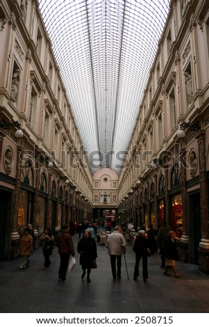 Shopping arcade in Brussels, Europe