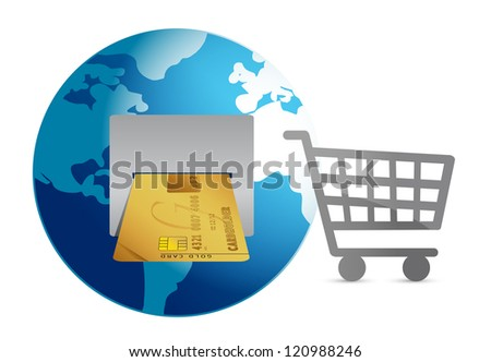 shopping around the world concept illustration design over white