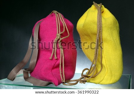 Shopping backpack made out of recycled Hessian sack - stock photo
