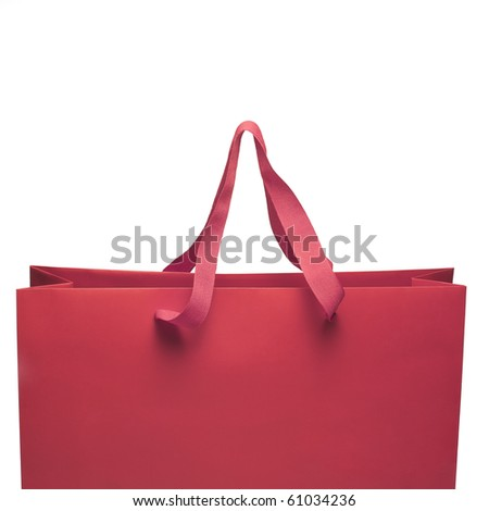 Shopping bag close up view opened with handle - stock photo