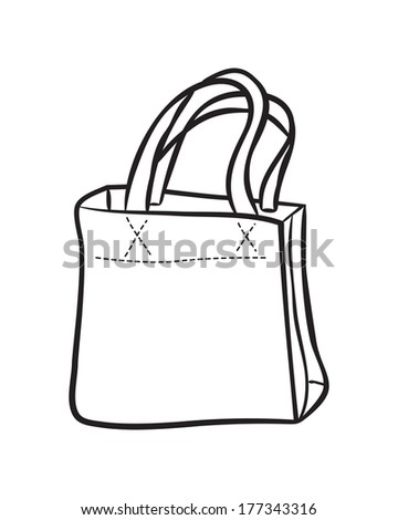 shopping bag doodle - stock photo