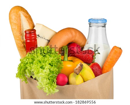 shopping bag filled with food - stock photo
